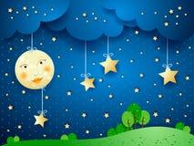 Countryside, fantasy illustration. At night. Illustration Royalty Free Stock Photos