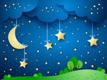 Countryside, fantasy landscape. At night. Illustration Royalty Free Stock Photo