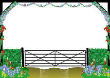 Countryside farm gate border. Frame of countryside with silhouette gate and different flowers Stock Photo