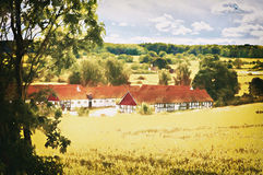 Countryside farmhouse. Watercolor image of a swedish countryside farmhouse Stock Images
