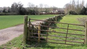 Countryside Field Fence and path, Field Gate - Natural Wild English Backgrounds stock footage