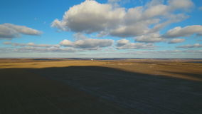 Countryside with fields in winter time. Aerial view stock footage