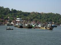 Countryside Fishing Scene. River fishing scene in India Stock Photo