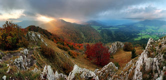 Countryside with forest and hill at fall, Slovakia peak Vapec Royalty Free Stock Photography