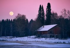 Countryside full moon scenery Stock Photography