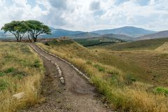 Countryside and the Galilee mountains in the Hula Valley royalty free stock photo
