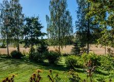 Countryside garden landscape. Countryside garden in Jyvaskyla, Finland Royalty Free Stock Image