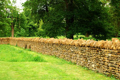 Countryside garden, stone wall. Countryside garden with stone wall, lawn, plants royalty free stock photos