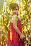 Countryside girl in corn field Stock Image