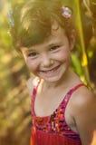 Countryside girl in corn field Stock Photo