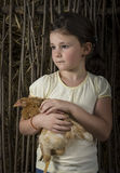 Countryside girl in corn holding a chick Stock Photography