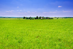 Countryside green landscape with small village Royalty Free Stock Photography