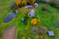 Countryside homestead aerial view stock photo