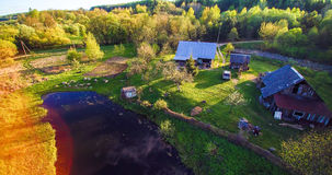 Countryside homestead in spring aerial stock image