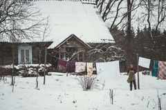 Countryside homestead in winter royalty free stock image