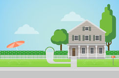 Countryside house with backyard and lawn in flat vector Stock Images