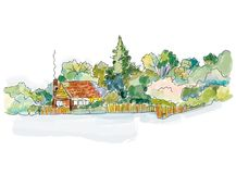 Countryside house banner with trees - design for the card or cover, graphic illustration Royalty Free Stock Photography