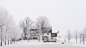 Countryside house in Canada during winter time Stock Photography