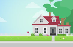 Countryside house on lawn in building vector concept. Flat style countryside house with postbox on lawn concept. Architecture design elements. Build your world Stock Photos
