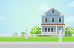 Countryside house on lawn in vector flat style. Flat style countryside house with cupid statue on lawn concept. Architecture design elements. Build your world Royalty Free Stock Image