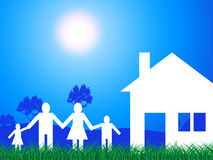 Countryside House Means Family Has Meadows Household Royalty Free Stock Image