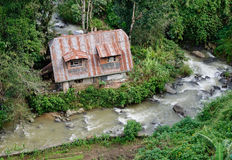 Countryside house with the stream in Banaue, Philippines Royalty Free Stock Photo