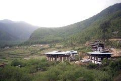 Countryside houses, Drukgyel, Bhutan Royalty Free Stock Photos