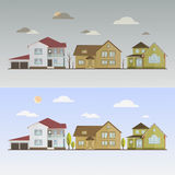 Countryside with houses Stock Photos