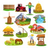 Countryside icons and clip arts isolated on a white background. Countryside icons and clip arts like mill, village, river, cottage, fountain, farm animals Stock Image