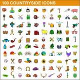 100 countryside icons set, cartoon style. 100 countryside icons set in cartoon style for any design illustration royalty free illustration