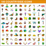 100 countryside icons set, cartoon style. 100 countryside icons set in cartoon style for any design vector illustration Royalty Free Stock Image
