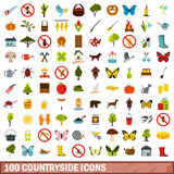 100 countryside icons set, flat style. 100 countryside icons set in flat style for any design vector illustration vector illustration