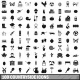 100 countryside icons set, simple style Stock Photos
