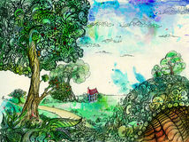 Countryside idyll with a hollow hill. Stylized landscape: countryside idyll with a hollow hill in the foreground royalty free illustration