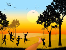 Countryside Kids Indicates Free Time And Outdoor. Playing Countryside Representing Free Time And Scene Stock Images