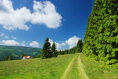 Countryside in Krkonose mountains Stock Photo