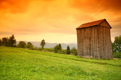 Countryside landscape. With orange sky Royalty Free Stock Photo