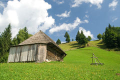 Countryside landscape. Hill landscape; country side cottage Stock Photos