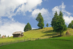 Countryside landscape. Hill landscape; country side cottage stock photo