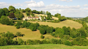 Countryside Landscape. Green Field with a Beautiful Sky above in the Avon Valley near Bath in Somerset England Stock Images