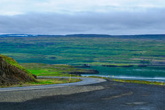 Countryside and landscape along the Mjoifjordur fjord Royalty Free Stock Photography