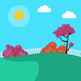 Countryside Landscape Background with Sunny Sky and Trees Stock Images