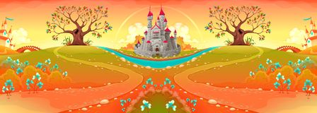 Countryside landscape with castle in the sunset. Funny cartoon vector illustration Royalty Free Stock Photography