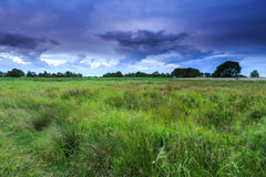 Countryside landscape with dark clouds Royalty Free Stock Photography