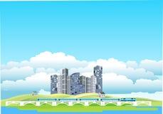 Countryside landscape, ecocity, train on bridge, stock photo