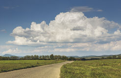 Countryside landscape with empty road Royalty Free Stock Photo