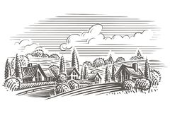 Countryside landscape engraving style illustration. Vector. Layered. Hand drawn. eps 10 file format royalty free illustration