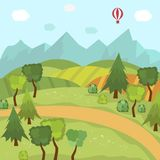 Countryside landscape with fields trees mountains. Countryside landscape with green fields, trees, mountains and hot air balloon in the sky, flat cartoon vector Stock Photos