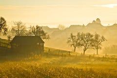 Countryside landscape golden morning fog royalty free stock photo