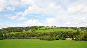 Countryside Landscape of Green Fields. Countryside Landscape View of Green Fields in the Avon Valley near Bath in Somerset England stock images